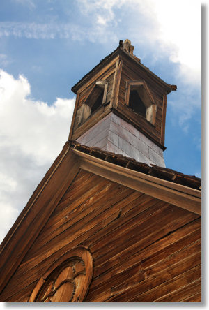 The steeple of the Old Methodist Church in Bodie, California, erected 1882