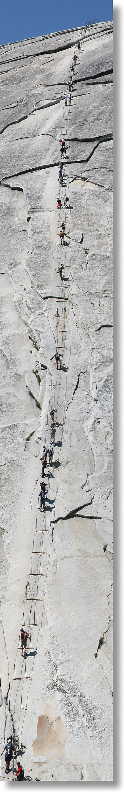 The Half Dome cables, from top to bottom