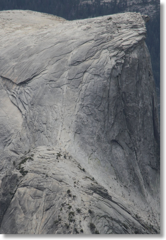 The Half Dome cables seen from Clouds Rest, Yosemite