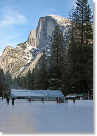 The ice skating rink at Curry Village, Yosemite Valley