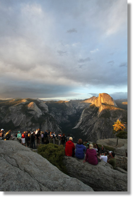 Ranger talk, Glacier Point, sunset