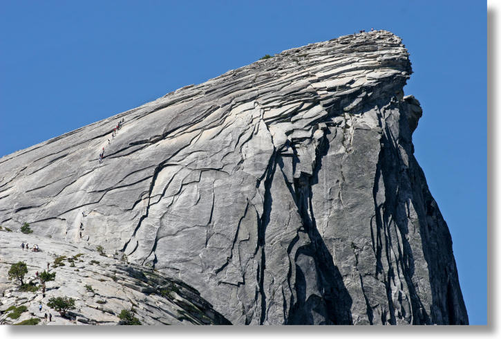 The eastern approach to Half Dome, in profile