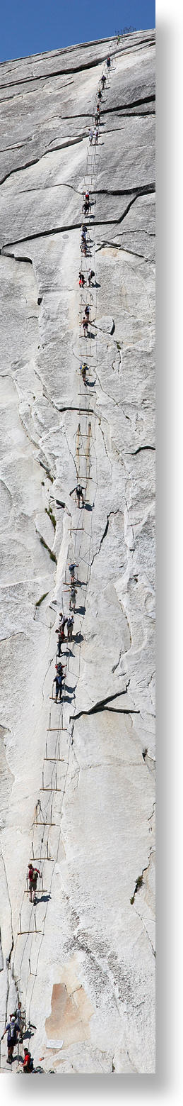 The cable route up Half Dome's east face