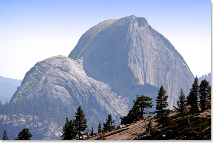 Half Dome as seen from Olmsted Point, with an approximation of the trail to the summit