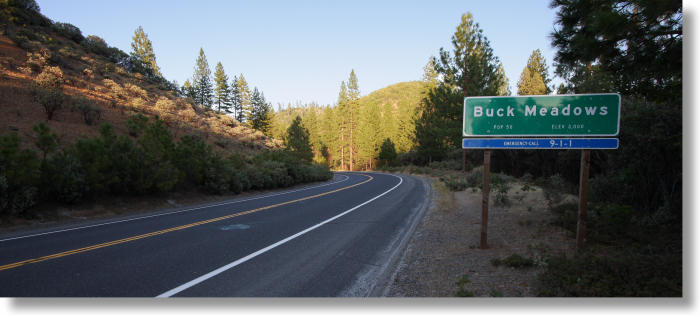 entrance to Buck Meadows, California