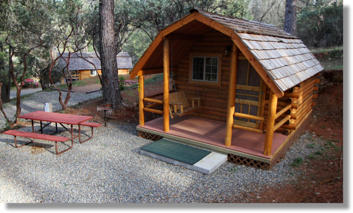 cabin at the koa campground in midpines california