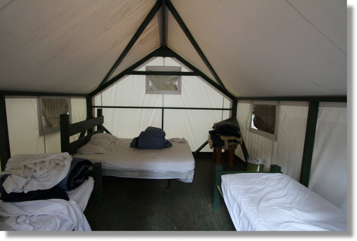 Interior of a tent cabin at the Yosemite Bug Resort in Midpines California & Yosemite Bug Tent Cabins