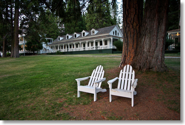 Adirondack chairs at the Wawona Hotel, Yosemite National Park