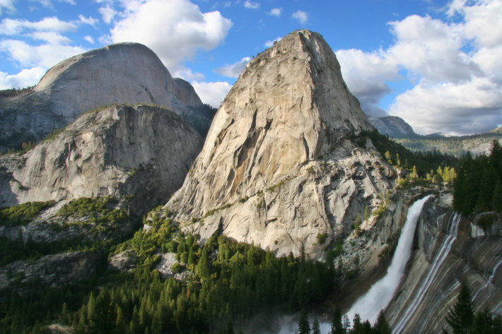 Nevada Fall, Liberty Cap, and the back of Half Dome, as seen from the John Muir trail