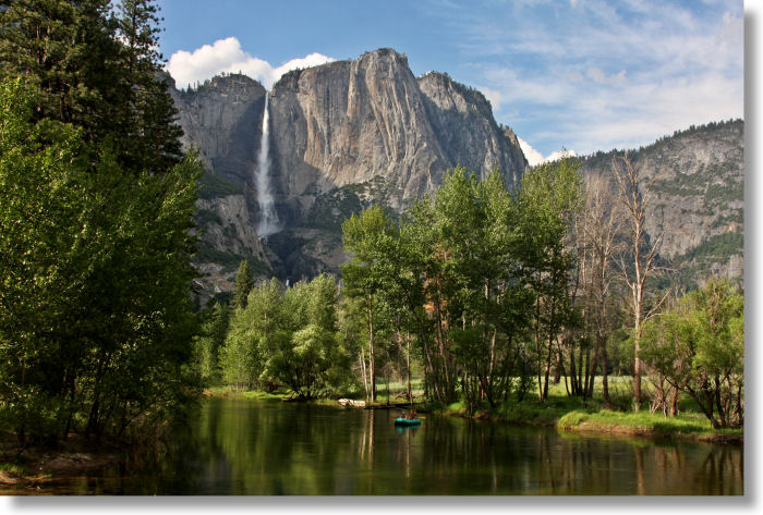 The Swinging Bridge and Yosemite Falls