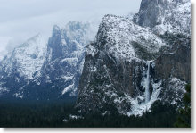 Bridalveil Fall from the Tunnel View during a winter storm