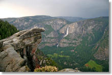 Yosemite Falls and Glacier Point's hanging rock