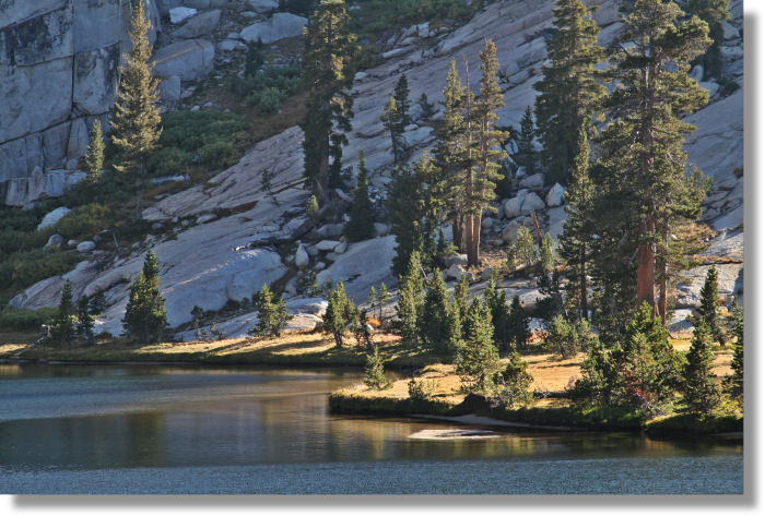 The western shore of Upper Cathedral Lake, Yosemite Park