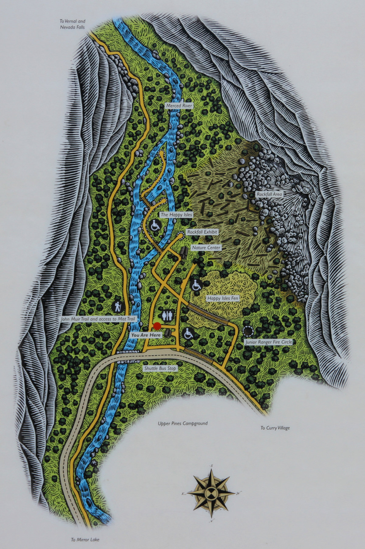 Happy Isles Trail Map on
